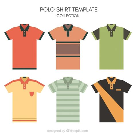 Collar T Shirt Template Psd by Striped Polo Shirt Template Collection Vector Free