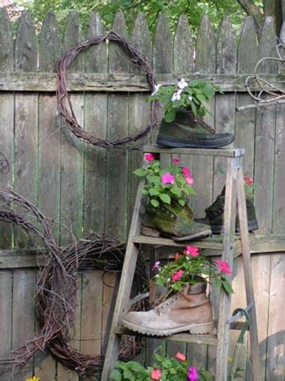 Wooden Garden Decor Outdoor Garden Decorations Made Of Wooden Ladders