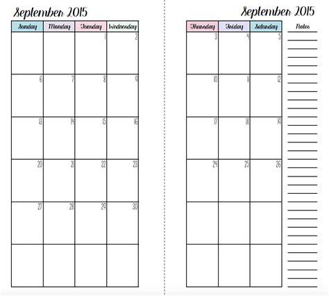 printable planner inserts 2015 personal size filofax monthly inserts wendaful