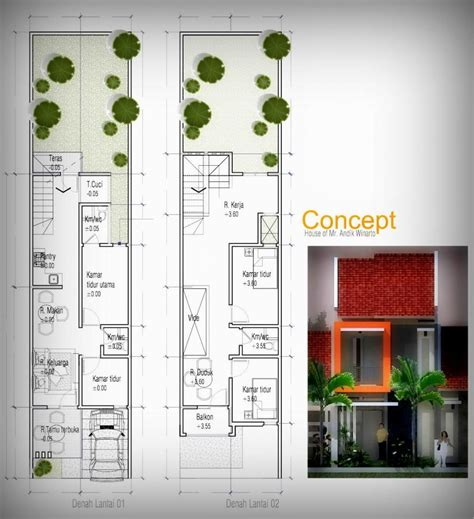 layout rumah lebar 5 meter inspirasi desain rumah di lahan lebar 5 meter andik