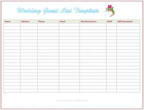 wedding list spreadsheet template wedding guest list template free excel templates
