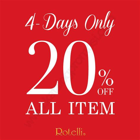 All Item 20 rotelli 4 days only discount 20 all items kota