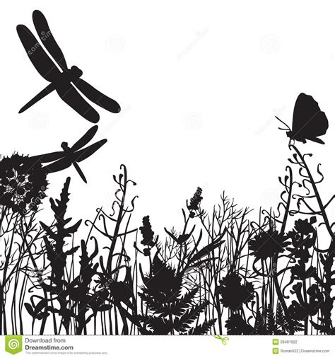 white silhouette black and white silhouettes of nature stock vector