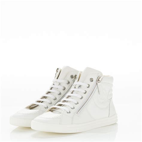 chanel high top sneakers chanel calfskin high top cc sneakers 37 white 179541