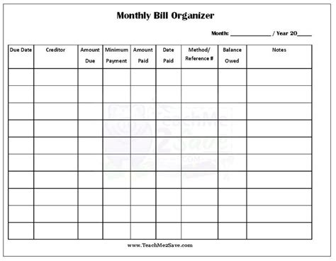 monthly bill organizer excel xls budgeting organizing and