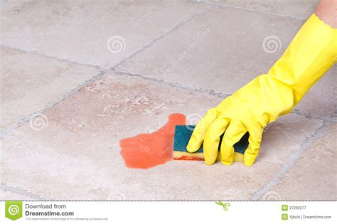 Cleaning Up Spill With Sponge Royalty Free Stock