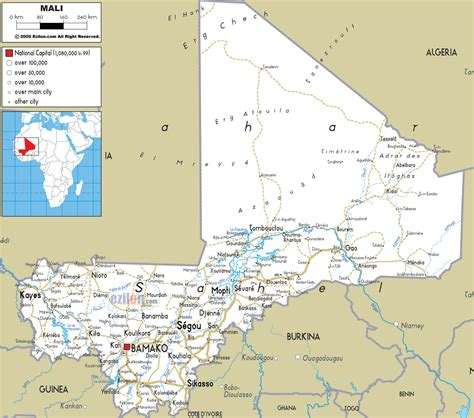 physical map of mali large detailed road map of mali wit all cities and