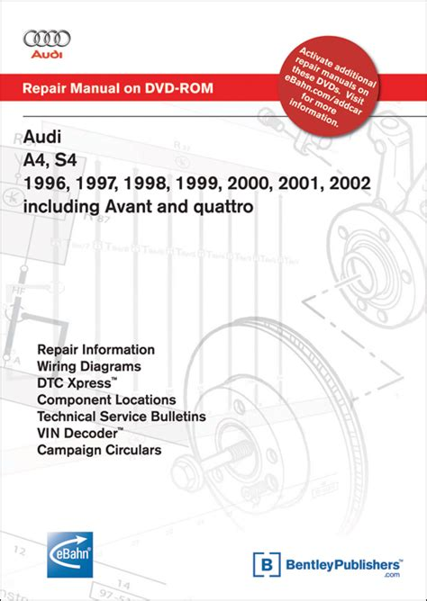 car repair manuals download 1996 audi a6 interior lighting front cover audi a4 s4 1996 1997 1998 1999 2000 2001 2002 repair manual on dvd rom