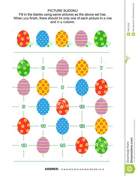 printable easter sudoku picture sudoku puzzle with easter eggs stock vector