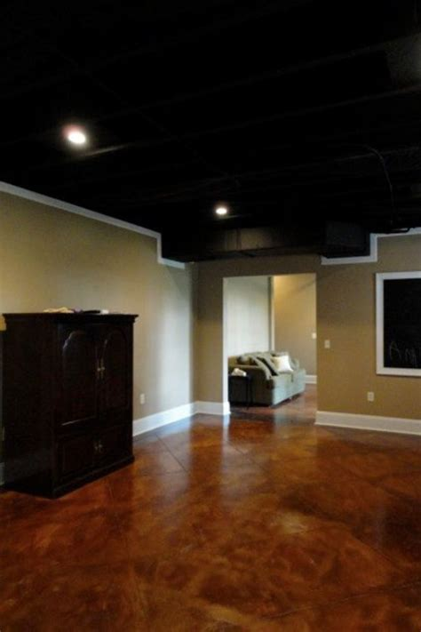 black basement ceiling stained concrete sprayed black ceiling basement