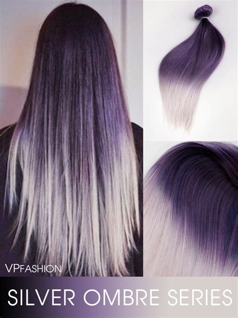 Lila Top Teal White purple to silver two color ombre clip in hair