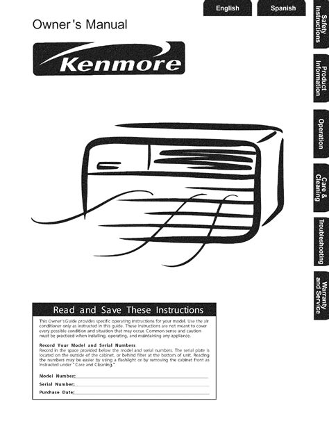 kenmore air conditioner air conditioner user guide manualsonline