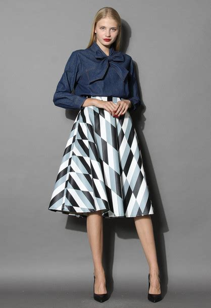 Patterned A Line Midi Skirt skirt chic patterned faux leather a line midi skirt