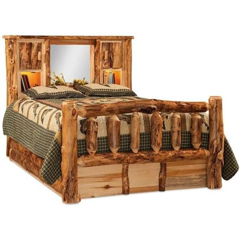 bettablage kopfteil amish rustic aspen log bed with bookcase headboard and