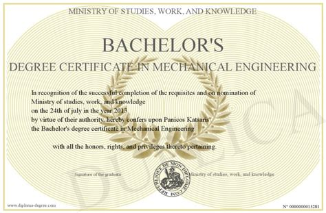 Mba Courses Related To Mechanical Engineering by Bachelor S Degree Certificate In Mechanical Engineering