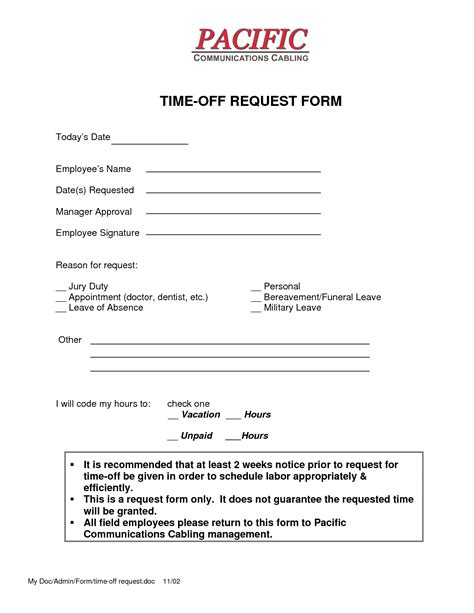 4 Time Off Request Form Templates Excel Xlts Time Request Form Template