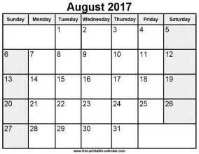 August Printable Calendar August 2017 Calendar Template Calendar 2017 Printable