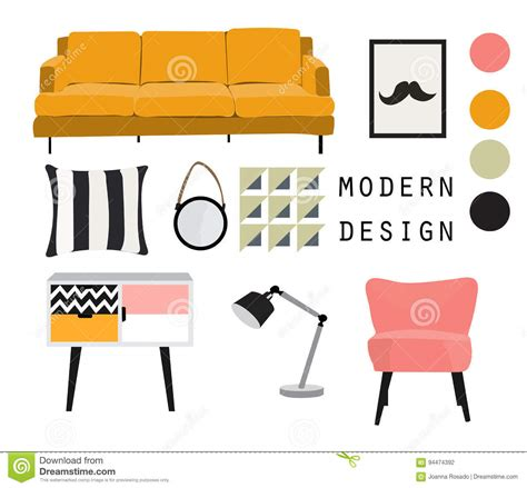 design elements for home interior design mid century modern furniture vector