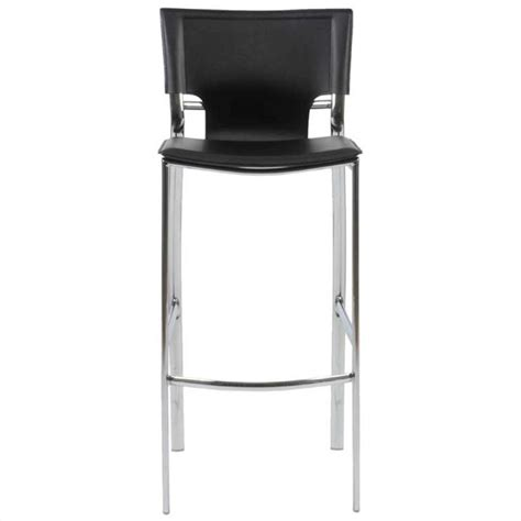 black and chrome kitchen bar stools 30 quot bar stool in black leather and chrome 17214blk