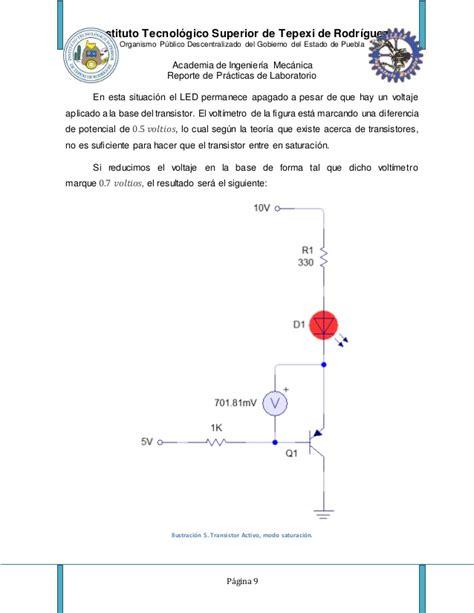 transistor bjt practica reporte de practica transistores bjt diego ramirez