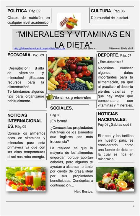 minerales  vitaminas en la dieta