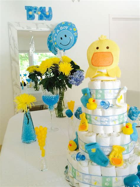 rubber ducky baby shower table decor baby shower blue and yellow idea rubber duck baby