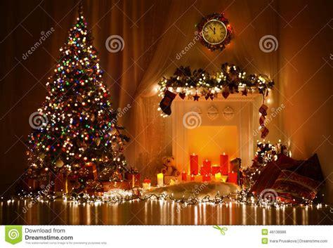 christmas tree fireplace lights decorated xmas living