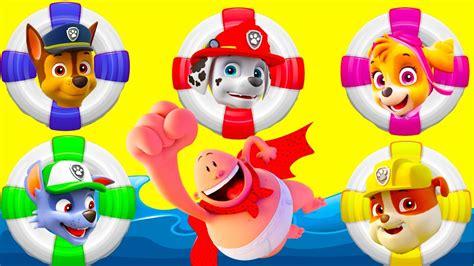 Playset Mainan Anak Paw Patrol Amusement Park captain underpants saves paw patrol at water slide amusement park playset part 2