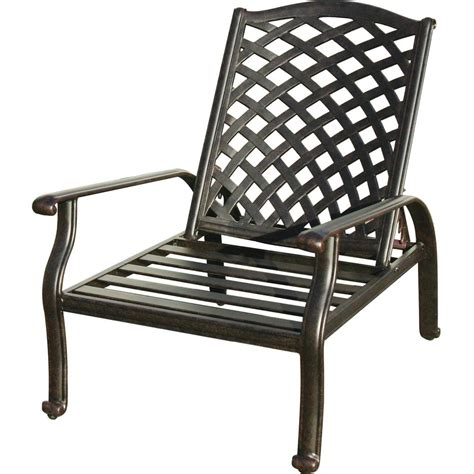 Reclining Outdoor Chair by Darlee Nassau Cast Aluminum Patio Reclining Club Chair