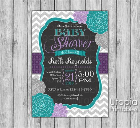 Purple And Teal Baby Shower Invitations by Teal And Purple Chevron Flower Baby Shower Invitation