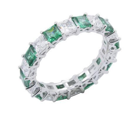 diamonique simulated emerald band ring platinum clad