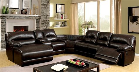 glasgow sofa glasgow reclining sectional sofa cm6822br in brown leatherette
