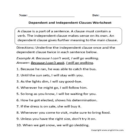 clauses worksheets dependent and independent clauses