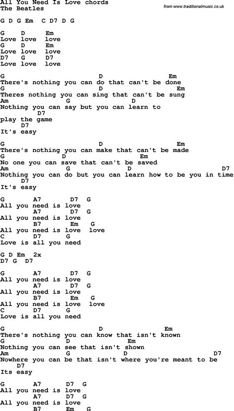 All You Need Is Love Guitar Chords