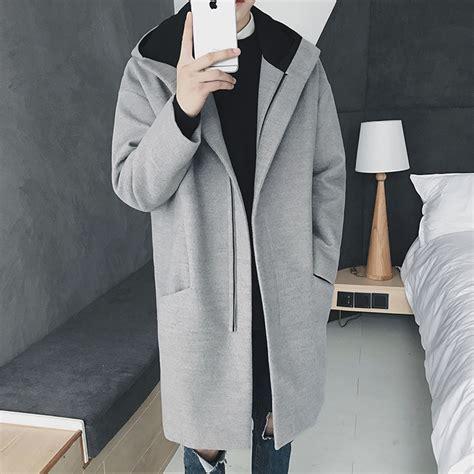Jaket Blazer Pria Korean Style Jaket Style Hitam thintenda 2017 fashion mens winter wool coat thick trench coat hooded jacket coat