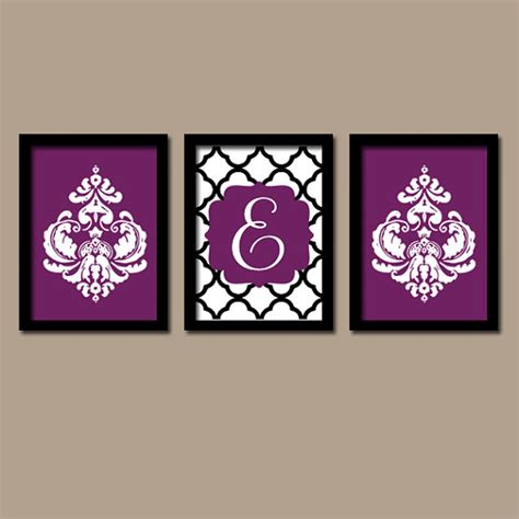purple bathroom wall art purple black wall art monogram wall art bathroom by trmdesign