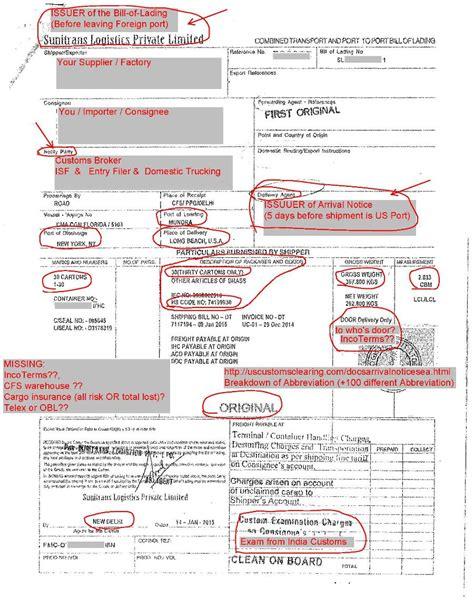 Hazmat Endorsement Letter Bill Of Lading Customs Clearing Custom Broker Chb Importing