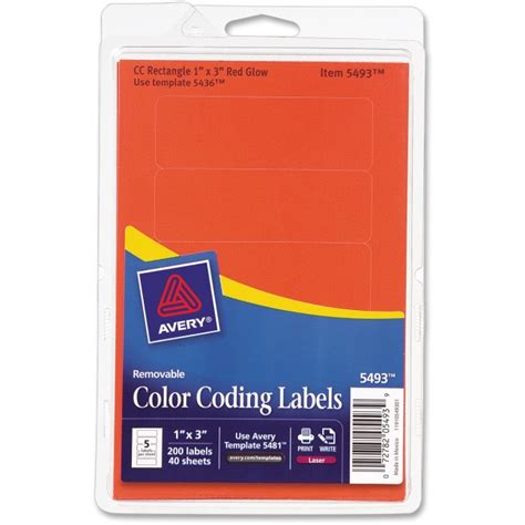 template for avery color coding labels removable rectangle labels 1 x3 200 pk red neon ave05493