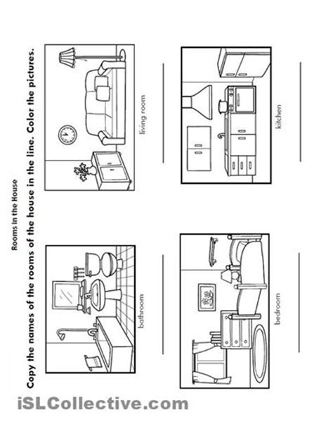 home design worksheet kindergarten worksheets rooms of the house 1 teaching