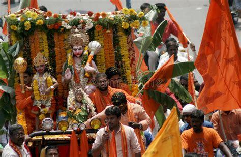 hindu devotess take a hanuman jayanthi shobha yatra