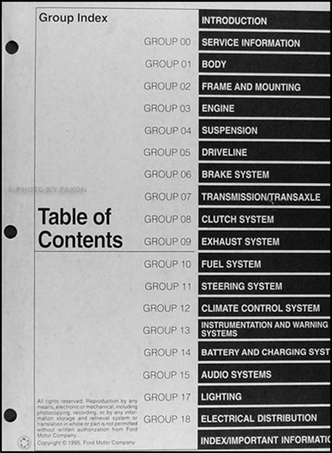automotive service manuals 1996 ford contour electronic toll collection 1996 ford contour and mercury mystique repair shop manual original
