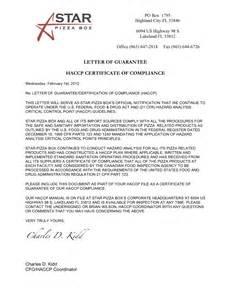 Haccp Certification Letter Orland Letter Certificate Building Compliance Best Free Home Design Idea Amp Inspiration