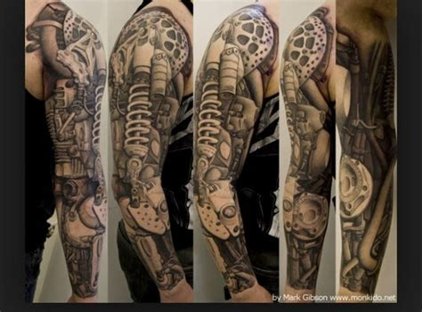 biomechanical wrench tattoo arm sleeve with suspension nuts and bolts for the