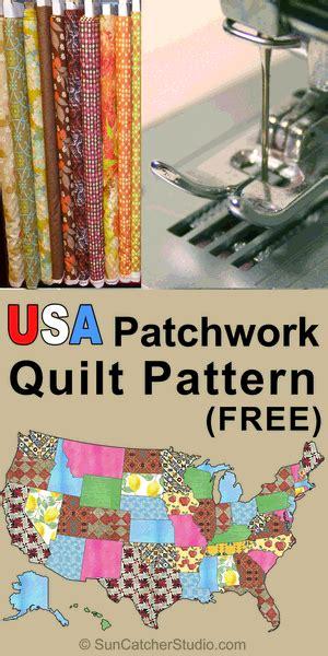 usa patchwork map quilt pattern diy stencils  create