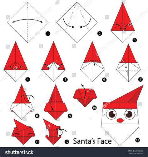 How To Make A Origami Santa - step by step how make stock vector 530052532
