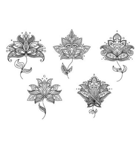 lotus tattoo vector black and white floral motifs of persian style vector