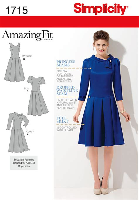 dress pattern fit and flare simplicity 1715 fit flare dress pattern
