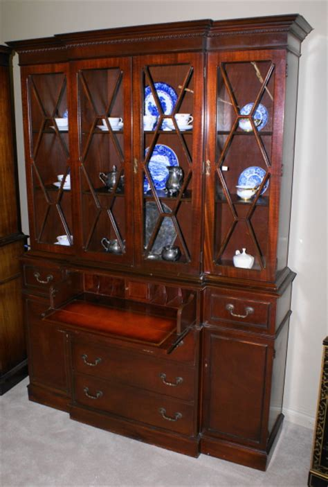 Antique China Hutch With Curved Glass Handsome Mahogany Breakfront Secretary Desk China