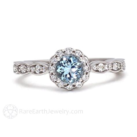 aquamarine ring vintage style engagement halo