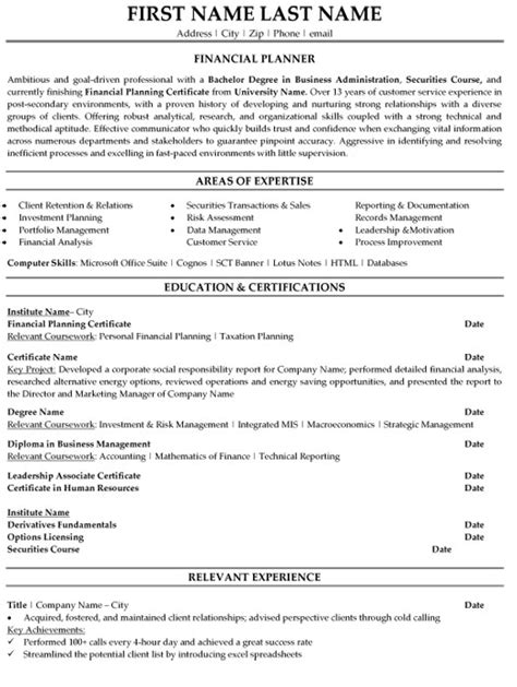 Financial Advisor Resume Exles by Financial Planner Resume Sle Template